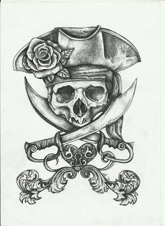 Pirate Dreams by fitakerfuffle - Piraten Tattoo - Kunst Tattoos, Tattoo Drawings, Tattoo Sketches, Pirate Skull Tattoos, Pirate Ship Tattoos, Pirate Tattoo Chest, Pirate Hat Tattoo, Pirate Hat Drawing, Pirate Compass Tattoo