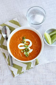 Ginger + Lime Carrot Soup from A BEAUTIFUL MESS