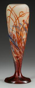 DAUM ETCHED AND ENAMELED GLASS LANDSCAPE VASE MOUNTED AS A | Lot #62224 | Heritage Auctions