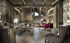 open fireplace in the middle of the room! love!