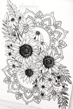Finally doing something I can sell on my website! My most recent endeavor in ink is and coming to life slowly but surely! While drawing this I have learned 2 chapters of conversational French and finished Mad Men. Definitely taking good time an Mandala Tattoo Design, Dotwork Tattoo Mandala, Mandala Art, Floral Tattoo Design, Body Art Tattoos, Sleeve Tattoos, Tatoos, Fish Tattoos, Men Tattoos