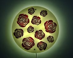 Items similar to Modern Floral Wall Sconce, White Painted Glass Wall Lamp, Wall Light Fixture Decorative LED Lighting Round Wall Sconce Pink Rose Painting on Etsy Indoor Wall Sconces, Candle Wall Sconces, Outdoor Wall Sconce, Wall Lamps, Modern Candles, Led Panel, Wonderful Picture, White Lead, White Walls