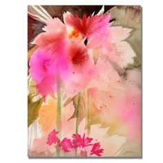 """Trademark Art 'Pink Garden' by Sheila Golden Framed Painting Print on Wrapped Canvas Size: 32"""" H x 24"""" W x 2"""" D"""