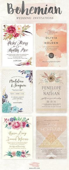 Top bohemian wedding invitations featuring flowers and feathers. Click here to see more stunning boho designs.