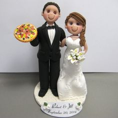Bride and groom and a pizza pie! Handmade with polymer clay by clayinaround.etsy.com