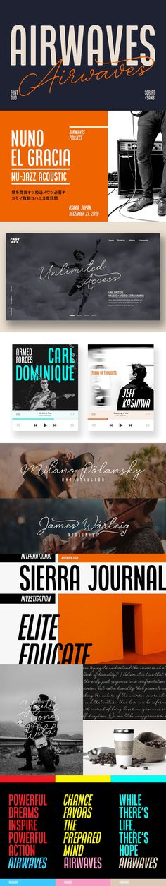 Airwaves is a gorgeous #font duo that unites condensed sans serif & #signature-ish script together into a supercool package ( #website #typeface #creative #vector #branding #lettering #calligraphy #hipster #apparel #outdoor #handcrafted )