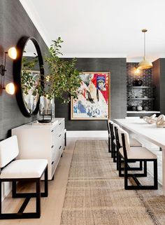modern dining room design with modern dining room chairs, elegant dining room decor, glam dining room decor with gray wallpaper and colorful art Informations About Best of SAINT LAURENT Spring 2018 Interior, Modern Dining Room, Beach House Interior, Home Decor, House Interior, Dining Room Contemporary, Formal Dining Room, Home Interior Design, Interior Design
