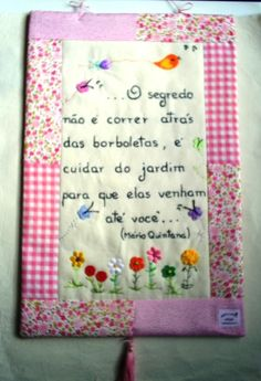 Panô ( embroidery framing ideas embroidered letters scrap fabric frame )