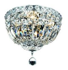 @Overstock - This four light mounted crystal fixture sparkles and shines. Its classic look fits well into a traditional or French decor, but is versatile enough for a modern design. This light would be beautiful in a foyer, dining room, or master suite.http://www.overstock.com/Home-Garden/Chrome-Four-light-Flush-Mount-Fixture/6442802/product.html?CID=214117 $159.99