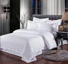 White Streak Hotel bedding sets queen king 4pcs bed set Solid Color duvet cover bed sheet cotton for Guest Room home textile