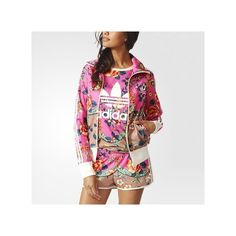 adidas Jardineto Firebird Track Jacket ($70) ❤ liked on Polyvore featuring activewear, activewear jackets, multicolor, tracksuit jacket, adidas, track jacket, track top and warm up jacket