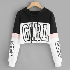 Harajuku Hoodies Sweatshirt Women Streetwear Letter Crop Top Hoodie 2018 Autumn Women Fashion Clothes Korean Moletom - Cropped - Ideas of Cropped - Teenage Outfits, Teen Fashion Outfits, Outfits For Teens, Cute Casual Outfits, Tomboy Outfits, Emo Outfits, Fashion Clothes, Fashion Dresses, Crop Top Hoodie