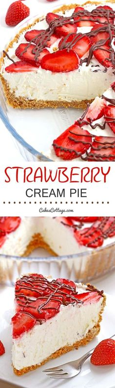 An easy strawberries and cream pie made with graham crackers, whipped cream, cream cheese and fresh strawberries.