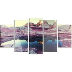 DesignArt 'Purple-Tinged Vermilion Cliffs' 5 Piece Photographic Print on Canvas Set