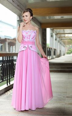 Pink Princess Floor-length Strapless Dress [Dresses 10141] - $204.00 :
