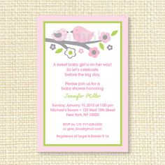 Pink Baby Bird Printable Baby Shower by LittlePrintsParties, $10.00