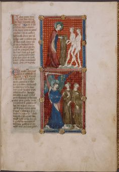Two miniatures: God making clothing for Adam and Eve, and the Expulsion from the Garden. With text, initials, linefill... (ca. 1390)