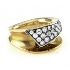 Contemporary Pave' Diamond Flap Ring in High Polished 18K Gold