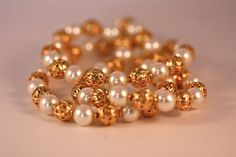 Vintage bead necklace pearl and gold faux 3 strand on Etsy, $32.00