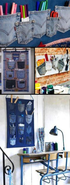Pro home office talvez. - : Pro home office talvez. Jean Crafts, Denim Crafts, Diy And Crafts, Jean Diy, Sewing Crafts, Sewing Projects, Types Of Carpet, Denim Ideas, Recycle Jeans