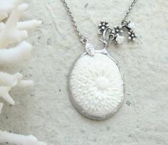 Carved Bone Necklace - Vintage Bone Flower Cameo by StaroftheEast, $97.00