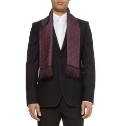 Alexander McQueen Skull-Embroidered Woven-Silk Scarf | statement scarves for the boys | mens scarf | burgundy | menswear | mens style | mens fashion | wantering http://www.wantering.com/mens-clothing-item/skull-embroidered-woven-silk-scarf/aadPt/