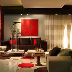 Living Room Gold Red Warm Colors