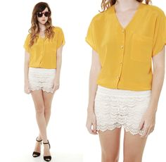 mustard shirt + crochet shorts