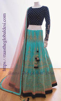 Bridal Lehenga 2019 Chicago based Indian clothing Latest designer & custom-made bridal lehenga exclusively online.Available now in the USA, Canada & Australia! Lehnga Dress, Lehenga Gown, Party Wear Lehenga, Indian Lehenga, Party Wear Dresses, Bridal Dresses, Bridal Lehenga, Blue Lehenga, Wedding Chaniya Choli