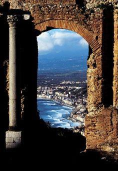 Taormina, Sicily- final honeymoon stop!  Ancient ruins, mt etna, and beach- yessss