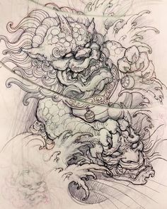 "2,843 kedvelés, 7 hozzászólás – David Hoang (@davidhoangtattoo) Instagram-hozzászólása: ""Foodog sketch. #sketch #drawing #illustration #foodog #hannya #asiantattoo #asianink #irezumi…"""