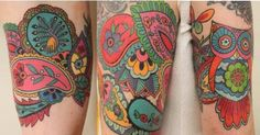 Paisley tattoo with owl and peacock. Love the retro colors Sweet Tattoos, Love Tattoos, Beautiful Tattoos, Body Art Tattoos, New Tattoos, Tatoos, Bird Tattoos, Paisley Tattoo Design, Paisley Tattoos