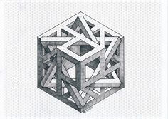 Impossible by odonodo on DeviantArt Illusion Drawings, 3d Drawings, Illusion Art, Pencil Drawings, Isometric Cube, Isometric Drawing, Sacred Geometry Patterns, Geometry Art, Geometric Designs