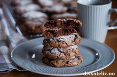 Myke sjokoladecookies | Det søte liv Muffin, Cookies, Baking, Breakfast, Desserts, Food, Anna, Crack Crackers, Morning Coffee
