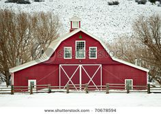 Picture Of A Beautiful Red Barn Surrounded by snow  www.picturesof.net