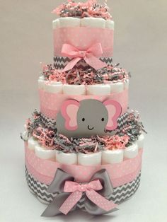 Pink and Grey Diaper Cake | Elephant Diaper Cake|New Child Present|Child Bathe Centerpiece| Trendy Diaper Cake, Pink and Grey Child Bathe