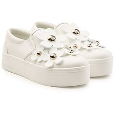 Marc Jacobs Leather Platform Sneakers (£205) ❤ liked on Polyvore featuring shoes, sneakers, white, white sneakers, white shoes, platform slip-on sneakers, slip-on sneakers and platform shoes