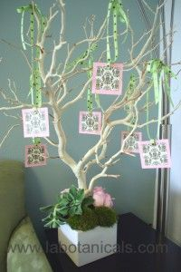 Eco-Fleur Wishing Tree --guests write their good wishes on cards and hang on the tree.