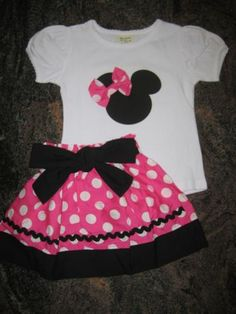 Minnie-Mouse-Hot-Pink-Black-Polka-Dot-Skirt-Top-Set-Outfit-6-12-2T-3T-4T-5