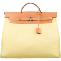 Pre-owned Herm?s Herbag Zip 39 (£1,445) ❤ liked on Polyvore featuring bags, handbags, yellow, preowned handbags, tan handbags, canvas handbags, square purse and handbag purse