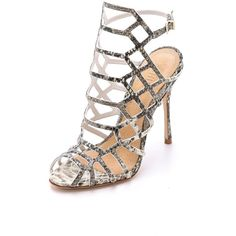 Schutz Juliana Caged Sandals ($190) ❤ liked on Polyvore featuring shoes, sandals, heels, natural, leather sandals, leather shoes, caged sandals, strappy heel shoes and schutz sandals