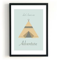 Kids teepee tent print lets have an adventure by Black & Boo design. Kid tipi, pastel kid teepee tent poster, pastel prints, home decor wall art, nursery art.