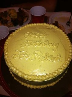JR's Birthday! Chocolate cake peanut butter frosting!