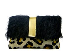 Black Fur Cheetah Print Gold Clutch