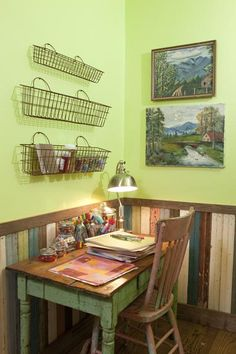 Junk Gypsies created a scrapbooking workspace our of original desk.   I love the wire baskets on the wall.