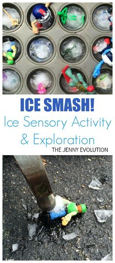 Ice is such an easy ice sensory activity but is often overlooked. This Ice Smash activity will be loads of fun and get some energy out. Sensory Activities Toddlers, Gross Motor Activities, Gross Motor Skills, Hands On Activities, Infant Activities, Toddler Preschool, Summer Activities, Preschool Activities, Outdoor Activities