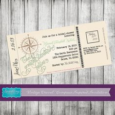 Vintage Compass Boarding Pass Bridal Shower Invitation - PRINTABLE