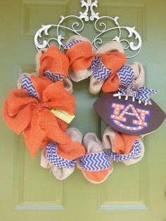 Auburn Tigers Burlap Football Wreath