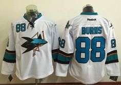 Sharks #88 Brent Burns White Stitched NHL Jersey