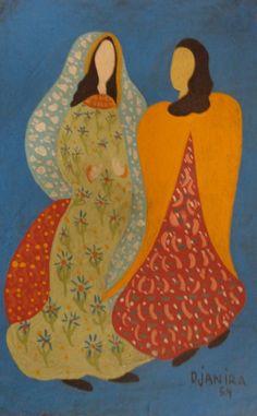Djanira. Santa e Anjo. óleo sobre cartão, 14x21 cm.